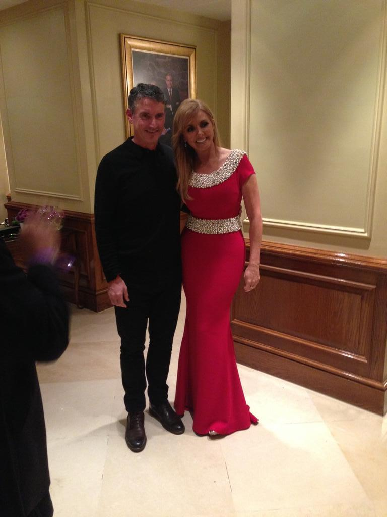 Me and clever Mark Melia, dress designer based in  Liverpool, who did my dresses for @PrideOfBritain @meliafashion x http://t.co/CEngj1vpho