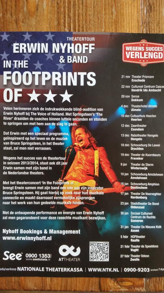 Met mijn band nog 1 ronde theaters. In the Footprints of... @springsteen staat centraal. Hier alle data. Retweet AUB http://t.co/E50erbIkRb