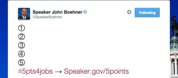 ".@SpeakerBoehner's ""jobs plan"" for America. No wonder this is the least productive Congress in history. http://t.co/0lLWdbL873"