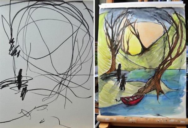 Художница из Канады и мама 2-летней девочки Евы рисует со своей дочерью, кот. начинает картину, а мама заканчивает. http://t.co/fpb4Pc5ibs