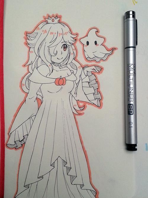 pumpkin #rosalina & ghostie #luma for #inktober http://t.co/w0G5njO3ba