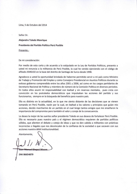 juan sheput on twitter   u0026quot adjunto mi carta de renuncia a la militancia de per u00fa posible      t