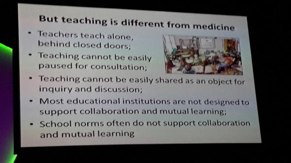 We don't have clinical rounds like in medicine or time for walk thru (except in Singapore) to collaborate. #ulearn14 http://t.co/GjJid2XWiY