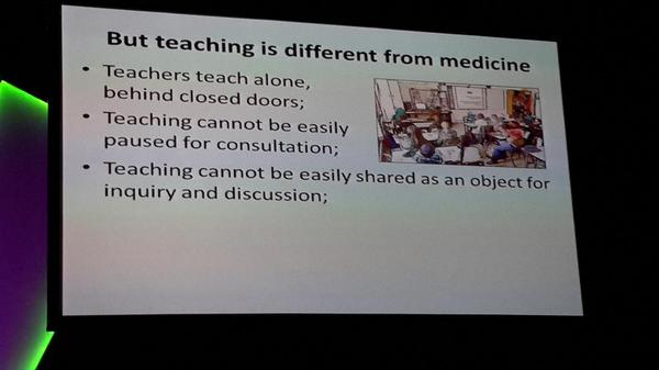 We don't have the routine of working together in teaching or to pause for consultation. #ulearn14 http://t.co/P3KLtsaHfB