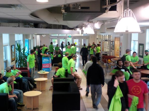 A sea of green is buzzing as the excitement starts to grow at NBCC #Fredericton Campus! #transformNB http://t.co/I8ovBhmdSu