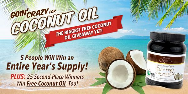 Win a Year's Supply of FREE #CoconutOil! Enter now: http://t.co/5Lp88YMiya http://t.co/5g34Ztyhfi