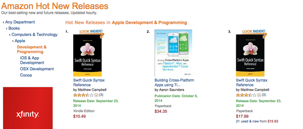 My book on #appcelerator Alloy & Cloud Services is #2 on Hot New Releases List on Amazon #javascript #tidev #mobile http://t.co/XuNSL5lInE