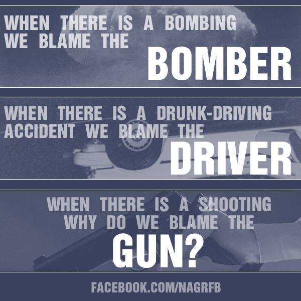「爆破事件があったとき、憎むべきは爆破犯」 「飲酒運転事故があったとき、憎むべきは運転手」 「銃乱射事件があったとき、なぜ銃が憎まれるのか?」