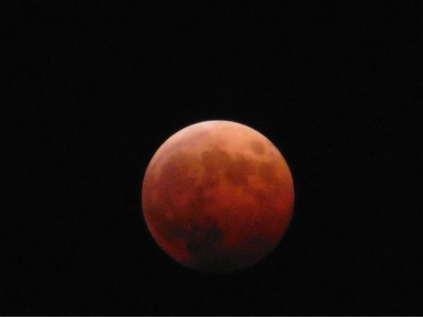 08 Oct. 19:36 皆既月食です。 total lunar eclipse is coming in  at Fukuoka city in Japan http://t.co/dyed8cZCvy