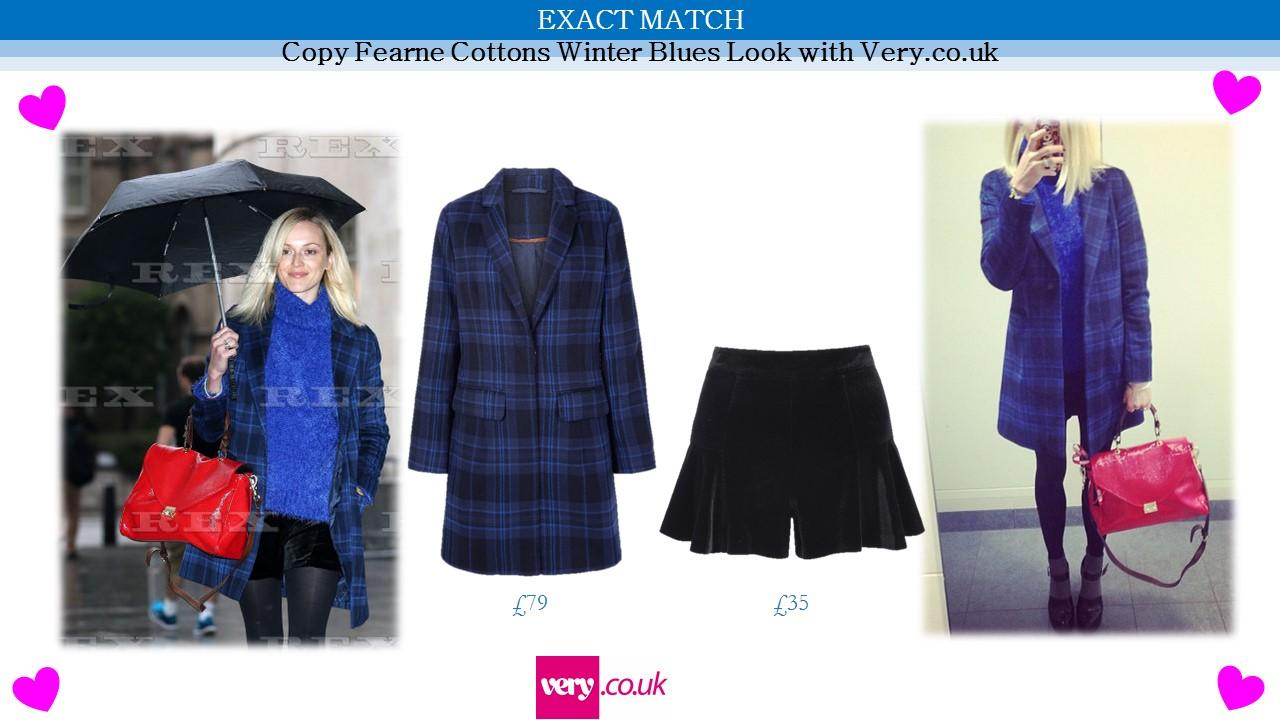 RT @LeePublicity: @Fearnecotton is working the Winter Blues in her @verynetwork blue tartan coat and velvet shorts today #LoveHerStyle http…