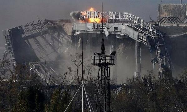 Sergei Prokofiev International Airport, Donetsk. Built for Euro 2012. Shelled at/from through summer. Collapsed today http://t.co/ZSwHUuXUEF