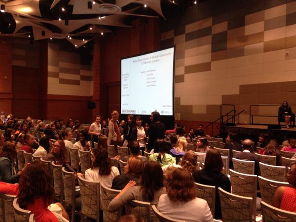 Five fab winning @StudentStemette mentees say hi to the hall #GHC14 @Stemettes http://t.co/1L9o0yyGY9
