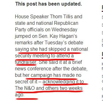 WOW: N&O writes they knew 2 wks ago Hagan skipped ISIS briefing for fundraiser.Why didn't they report it then? #ncsen http://t.co/rpOlK44Bjc