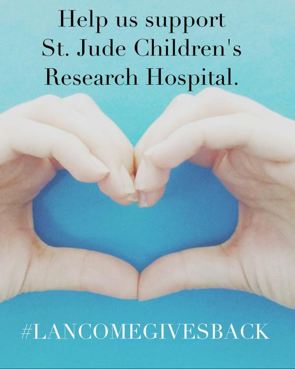 Tweet a hand heart with #lancomegivesback. We'll donate $1 to @StJude for each image, up to 20,000, thru 10/25 http://t.co/KwzsqZiCLR