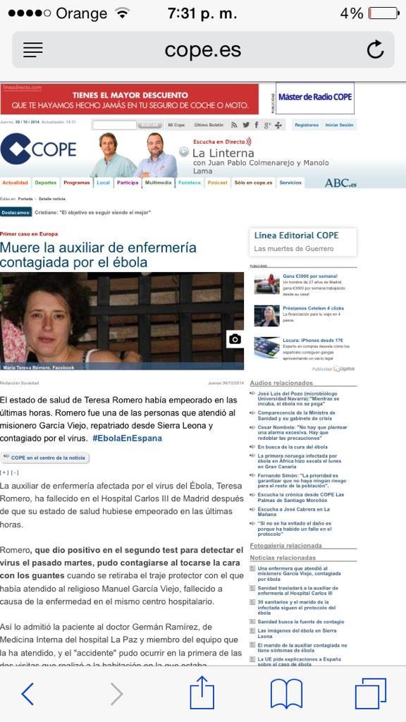 Cadena @cope_es publica la muerte de la enfermera y minutos después corrige. Ajam. http://t.co/Ztpwttloli
