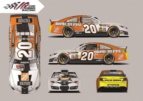 This is the full scheme for the No.20 @HomeDepot Toyota for next weekend @TalladegaSuperS! #15YrsOfHDRacing http://t.co/k3sLuSUOtr