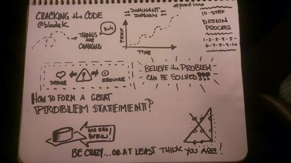 Cracking the code of innovation at @MassTLC #prodinno w/ @bladek #sketchnotes http://t.co/3Owl3hLqoE