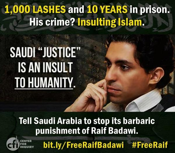 Islam. The world's leading dictatorship. ♻ @miss9afi: Saudi gov' will start lashing #RaifBadawi for 'insulting' Islam http://t.co/ffLe1lxram