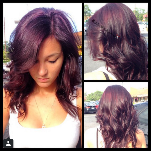 Salon Milan On Twitter From Black Box Dye To A Beautiful Violet Red Hair By Jennifer Trushell Http T Co 3ppkqhbbcf