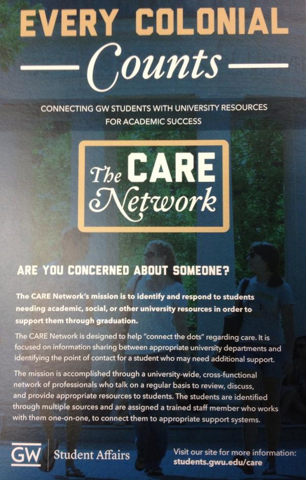 Concerned about a Fellow #GWU #Colonial: Friend, Roommate or Classmate? Submit a CARE Report https://t.co/HNygaebmhq? http://t.co/wRUzKcMo99