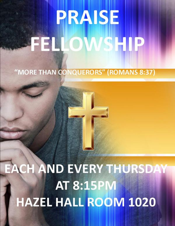 COME OUT TO PRAISE FELLOWSHIP TONIGHT! HAZEL HALL ROOM 1020 AT 8:15PM #UMES  @UMES_CAB  @UMESSGA  @UMES14