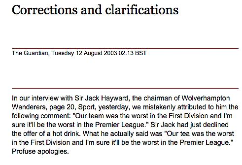 RT @eleanorokane: My favourite ever @guardian Correction and Clarification… http://t.co/8fJ6tQNVRU