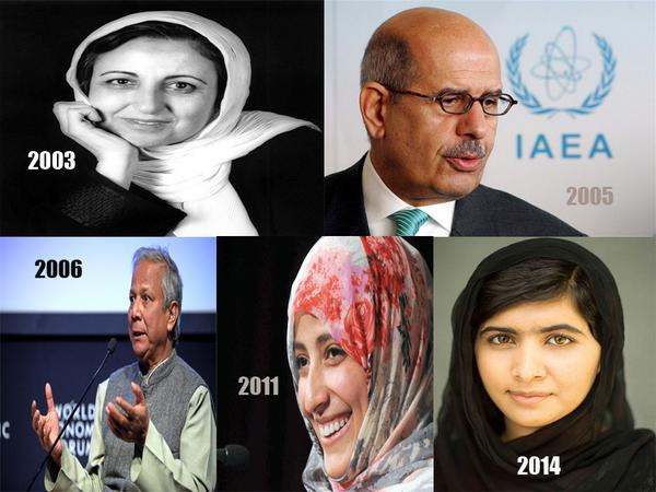 FACT: Did you know that 5 out of last 12 Nobel Peace Prize winners were Muslims (3 were Muslim women)...Please Share! http://t.co/0eZV4sAllm
