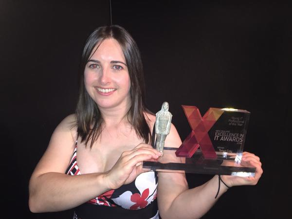 Well done to @tanya - winner of the Young IT Pro of the Year! #Awesome #itx2014 #itawards http://t.co/dVlNZNspy8