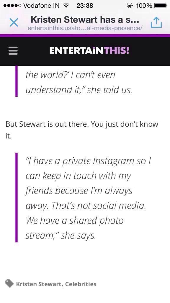 Kristen finally admits she is on instagram https://t.co/Scf6LCfLMi