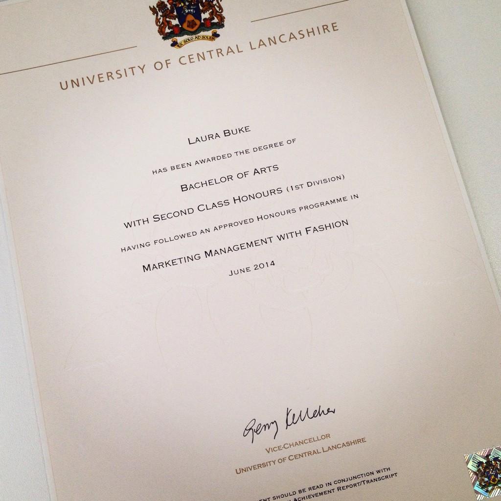 Uni of central lancs on twitter congrats laura rt laurabuke uclan graduate certificate 21 marketingandfashion happy httptkjfrscwq6o 1betcityfo Images