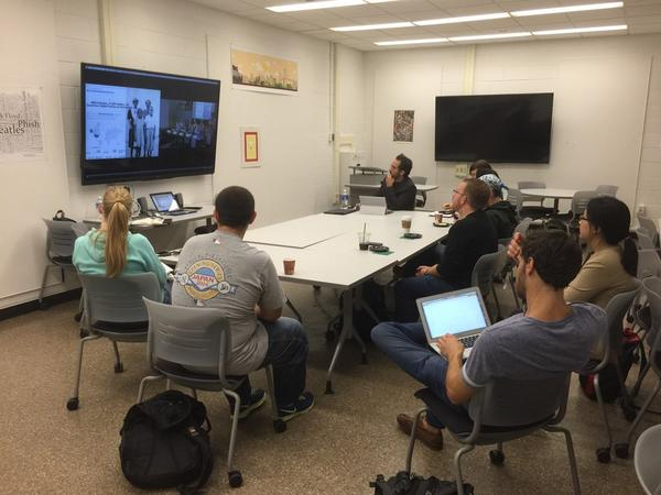Rutgers-Camden Digital Studies Center watching the #remixthediss live stream http://t.co/WBAOfjeuDc