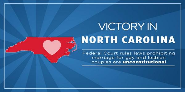 BREAKING: Judge strikes down North Carolina's marriage ban! http://t.co/Zm0vkjsKIW order via @EQCF http://t.co/ApQeU0cJzk