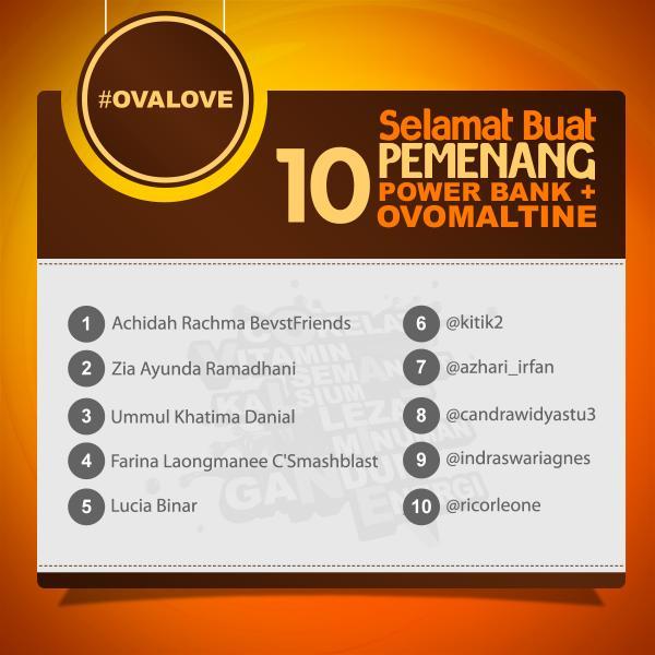 Olovers, ini nih 10 pemenang #OvaLove yg mendapatkan hadiah Power Bank dan Ovomaltine. http://t.co/dAvsUPlixa