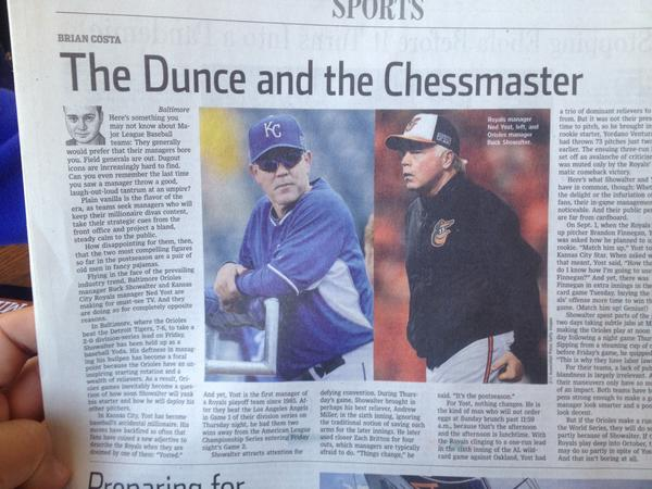 The Dunce 1  The Chessmaster  0 #TaketheCrown #ALCS #KCvsBAL http://t.co/Q7patQQQan