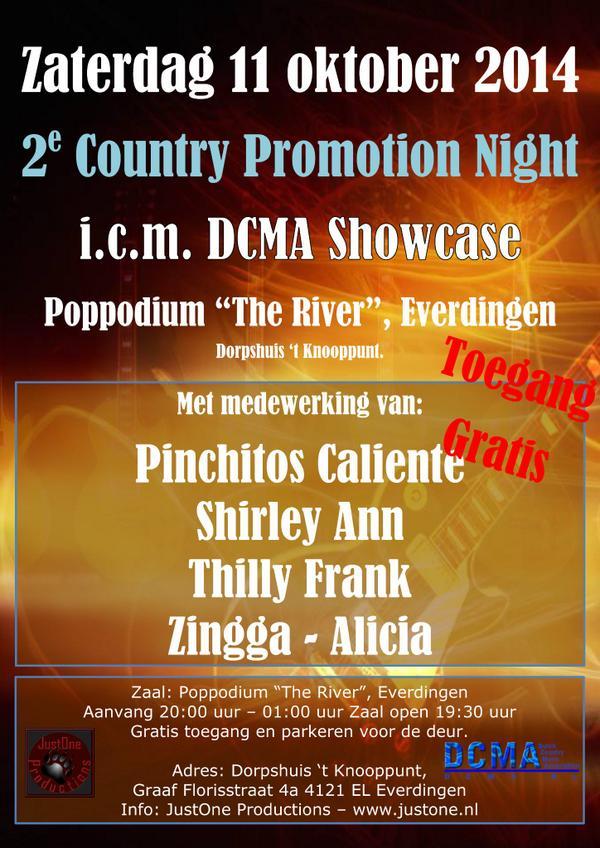 Vanavond gaat tijdens de 2e Country Promotion Night in Everdingen de DCMA Showcase van start. Zie de flyer voor info.