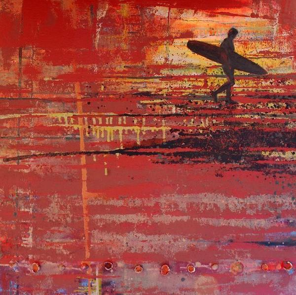 Surfer, Red Beach 40x40 inch painting in auction tonight! 100% for @NewquayCLIC #Newquay @bwhotelbristol Good luck! http://t.co/VjtzlU6Ao0