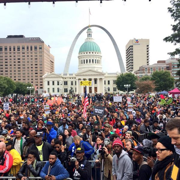 Current view of the Protest in St Louis #Ferguson #FergusonOctober http://t.co/6VyfLjD7Ap
