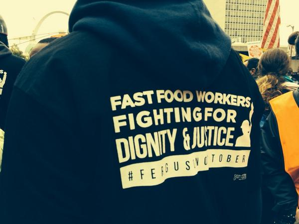 So many fast food workers here today marching  for justice! #1uferguson #fergusonoctober http://t.co/r96K9WEHnN
