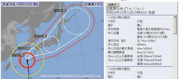 【悲報】2014年地球最強の台風19号さん、一夜で勢力落とし普通の台風へランクダウン!http://t.co/Laal0ySXYN http://t.co/HA33TCCczn