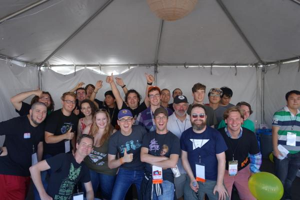 Group photo: A brilliant #CatOnYerHead crowd at @IndieCade today. Thanks for playing! #IndieCade #IndieCade14 http://t.co/FfoXzmPjWI