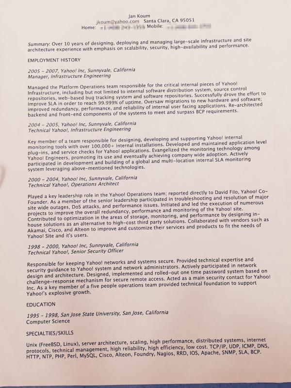 We s​urprised @jankoum today by showing his early resume to #startupschool. Yahoo! shaped Jan's leadership style. http://t.co/TEX235lDBN