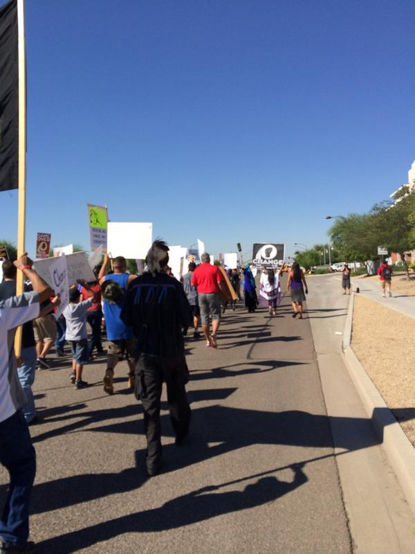 #changeTheName march has started #WASvsAZ  headed to 95th Ave http://t.co/5jAhp7wntB