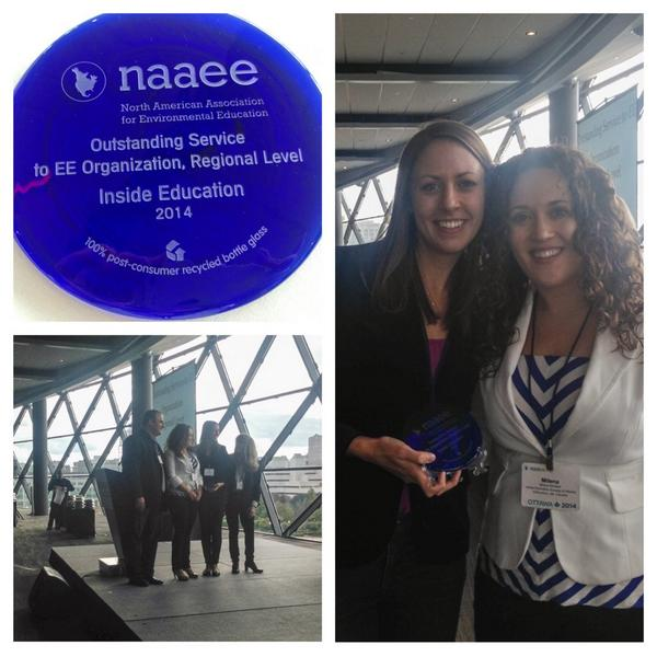 Incredibly honoured to be recognized by our peers for our contribution to environmental ed. Thank you! #NAAEE2014 http://t.co/OhpI5iSBZj