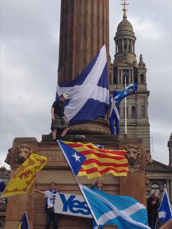 Flags in Freedom Square, Glasgow, 12 Oct 2014