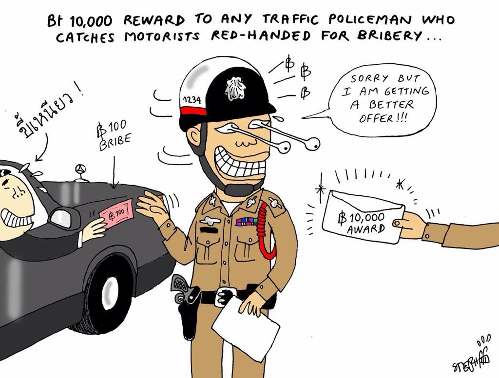 "veena T. on Twitter: ""No bribery pls, we are Thai police! Cartoon by @stephffart http://t.co/L6xlYUjwD4"""