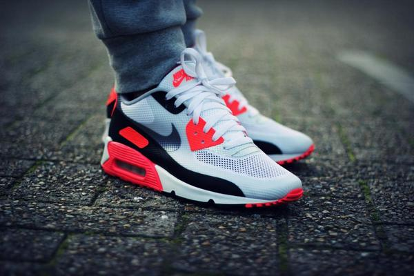 air max 90 infrared on feet