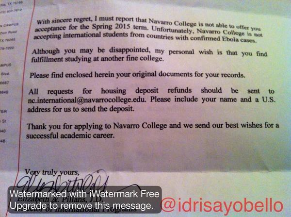 Dear @NavarroCollege Are you denying students admissions to your College because their countries have Ebola? http://t.co/Qhn51P2wxU