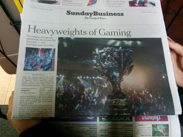 Esports and League once again on a @nytimes front page. One of the most read articles on NYT. http://t.co/D0kyH0T1I4 http://t.co/aqZhXiaNlQ