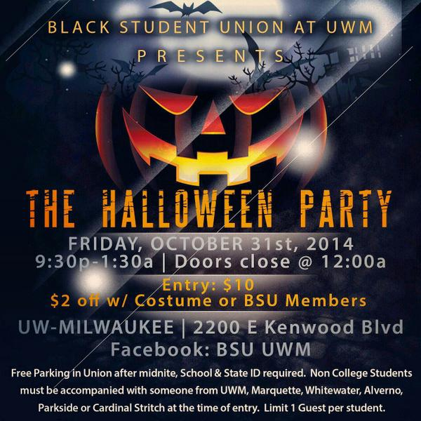 bsu milwaukee on twitter the black student union uwm hosts its annual halloween party featuring dj poison ivy you dont want to miss this