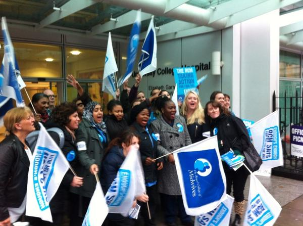 More midwives join picket line at Uch in London. http://t.co/xV9wFe9Yz5